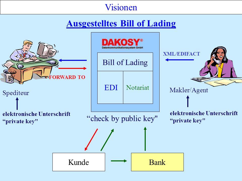 Visionen Ausgestelltes Bill of Lading KundeBank FORWARD TO Spediteur elektronische Unterschrift private key XML/EDIFACT Makler/Agent check by public key elektronische Unterschrift private key Bill of Lading EDI Notariat