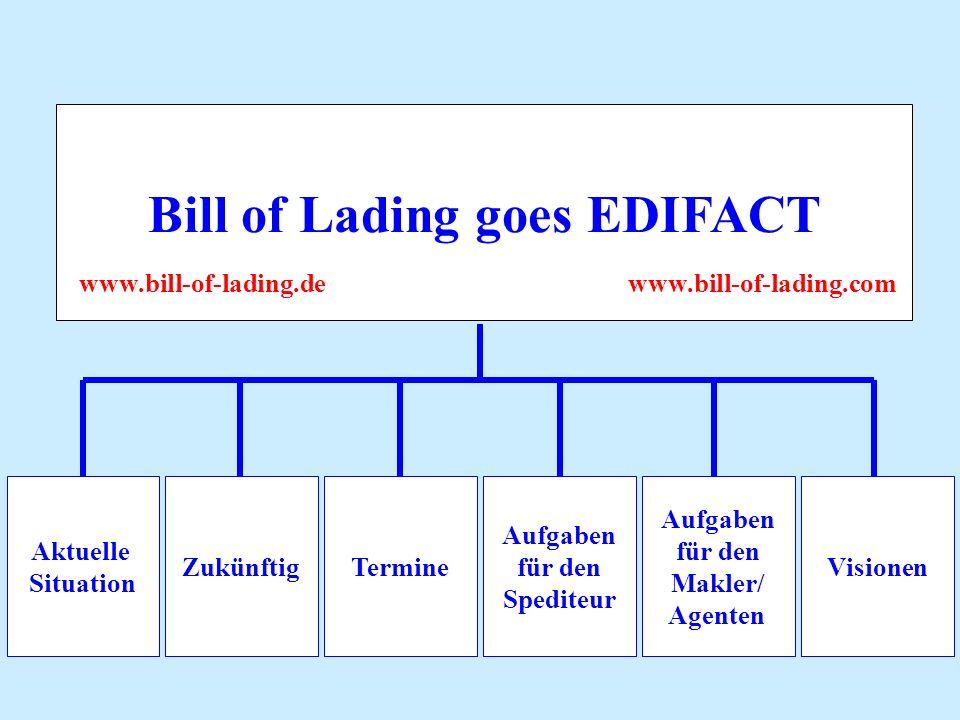 Bill of Lading goes EDIFACT Aufgaben für den Makler/ Agenten Aktuelle Situation ZukünftigTermine Aufgaben für den Spediteur Visionen www.bill-of-lading.de www.bill-of-lading.com