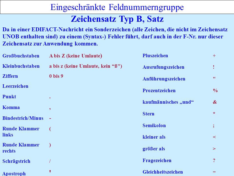 Eingeschränkte Feldnummerngruppe Zeichensatz Typ B, Satz Schrägstrich/ Bindestrich/Minus - Leerzeichen Kleinbuchstabena bis z (keine Umlaute, kein ß ) Punkt.