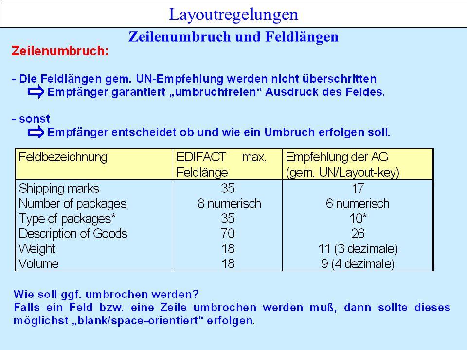 Zeilenumbruch und Feldlängen Layoutregelungen