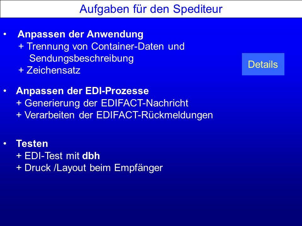 Aufgaben für den Spediteur Anpassen der Anwendung + Trennung von Container-Daten und Sendungsbeschreibung + Zeichensatz Anpassen der EDI-Prozesse + Ge