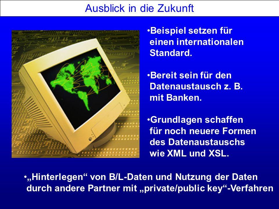 Ausblick in die Zukunft Hinterlegen von B/L-Daten und Nutzung der Daten durch andere Partner mit private/public key-Verfahren Beispiel setzen für eine