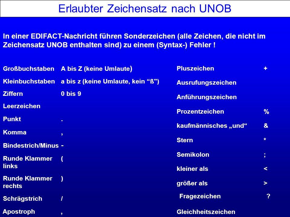 Erlaubter Zeichensatz nach UNOB Schrägstrich/ Bindestrich/Minus - Leerzeichen Kleinbuchstabena bis z (keine Umlaute, kein ß