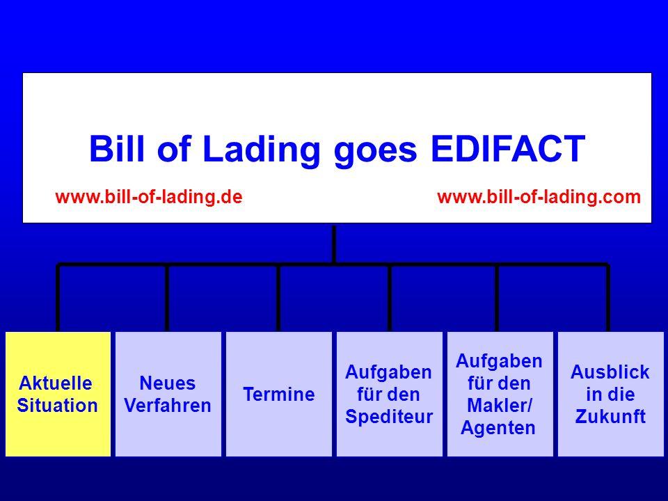 Bill of Lading goes EDIFACT Aufgaben für den Makler/ Agenten Aktuelle Situation Neues Verfahren Termine Aufgaben für den Spediteur Ausblick in die Zuk