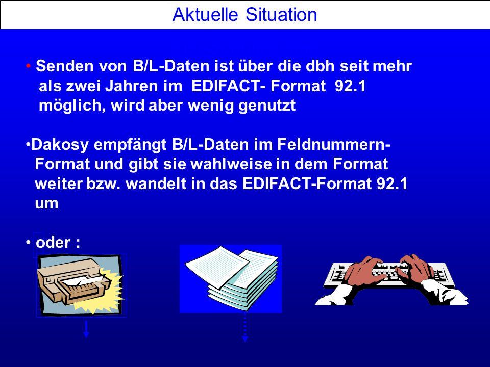 Aktuelle Situation EDI-Schnittstellen Senden von B/L-Daten ist über die dbh seit mehr als zwei Jahren im EDIFACT- Format 92.1 möglich, wird aber wenig
