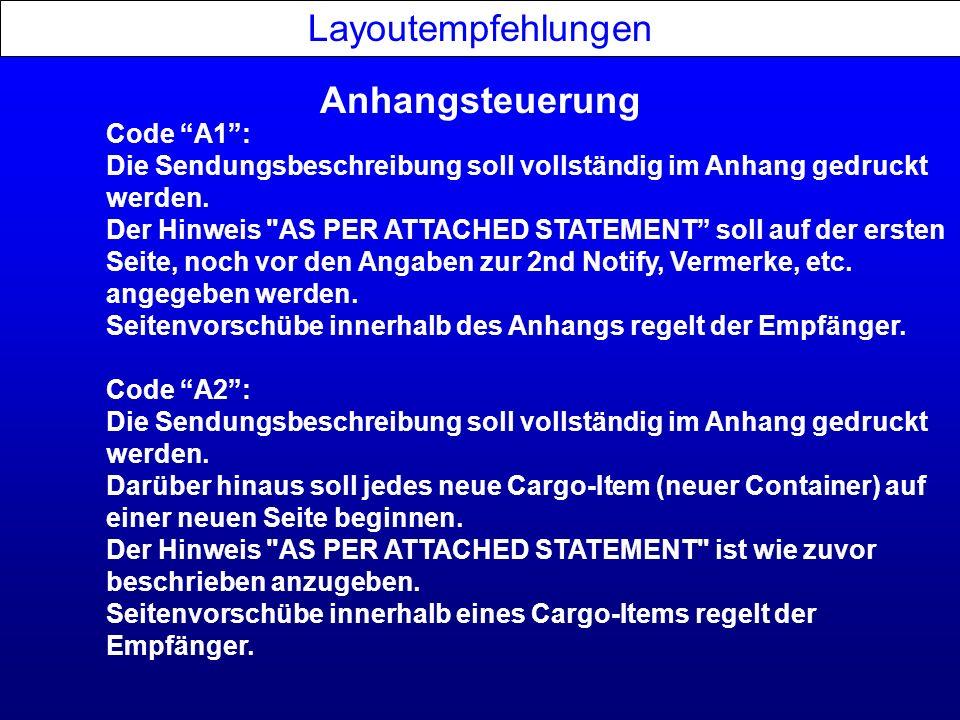 Anhangsteuerung Layoutempfehlungen Code A1: Die Sendungsbeschreibung soll vollständig im Anhang gedruckt werden. Der Hinweis