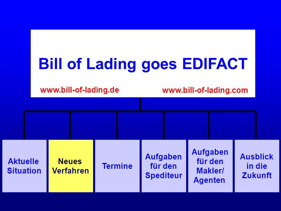 Spediteur Makler/Agent Neues Verfahren EDIFACT