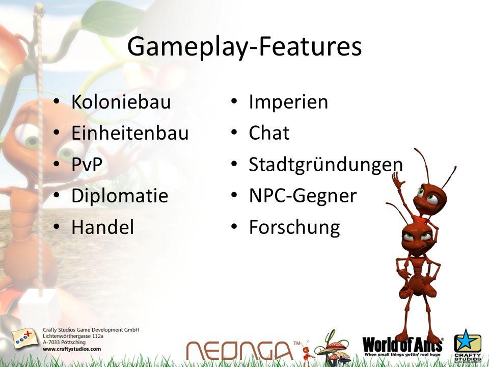 Gameplay-Features Koloniebau Einheitenbau PvP Diplomatie Handel Imperien Chat Stadtgründungen NPC-Gegner Forschung