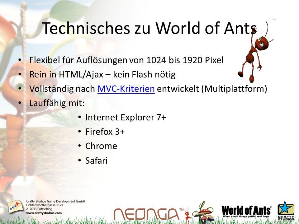 Technisches zu World of Ants Flexibel für Auflösungen von 1024 bis 1920 Pixel Rein in HTML/Ajax – kein Flash nötig Vollständig nach MVC-Kriterien entwickelt (Multiplattform)MVC-Kriterien Lauffähig mit: Internet Explorer 7+ Firefox 3+ Chrome Safari