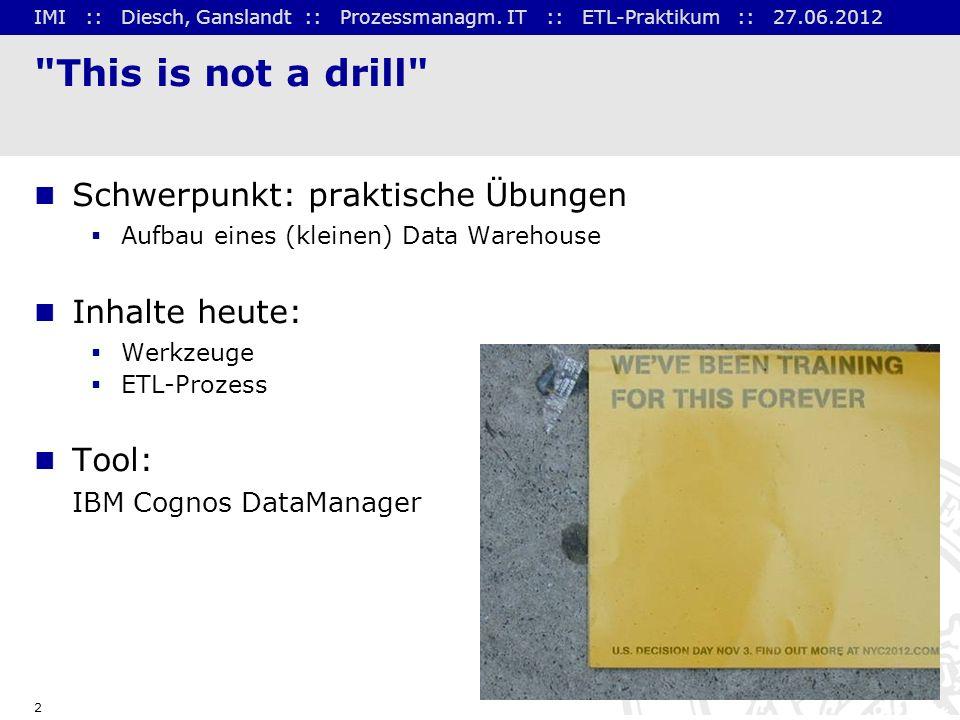 IMI :: Diesch, Ganslandt :: Prozessmanagm. IT :: ETL-Praktikum :: 27.06.2012 2