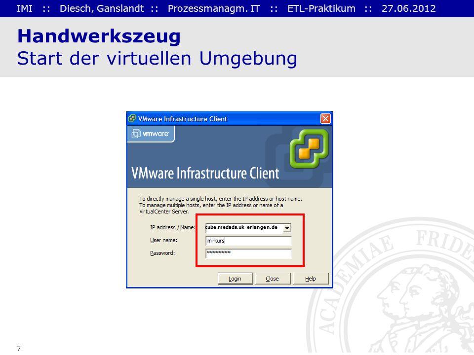 IMI :: Diesch, Ganslandt :: Prozessmanagm. IT :: ETL-Praktikum :: 27.06.2012 7 Handwerkszeug Start der virtuellen Umgebung cube.medads.uk-erlangen.de