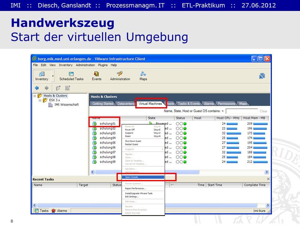IMI :: Diesch, Ganslandt :: Prozessmanagm. IT :: ETL-Praktikum :: 27.06.2012 8 Handwerkszeug Start der virtuellen Umgebung