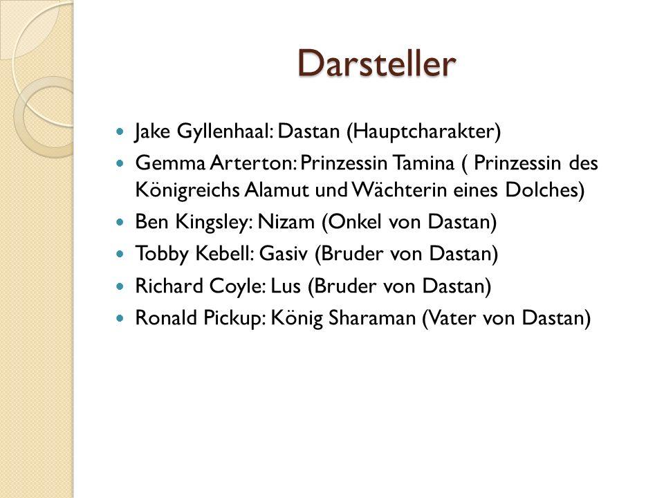 Darsteller Jake Gyllenhaal: Dastan (Hauptcharakter) Gemma Arterton: Prinzessin Tamina ( Prinzessin des Königreichs Alamut und Wächterin eines Dolches)
