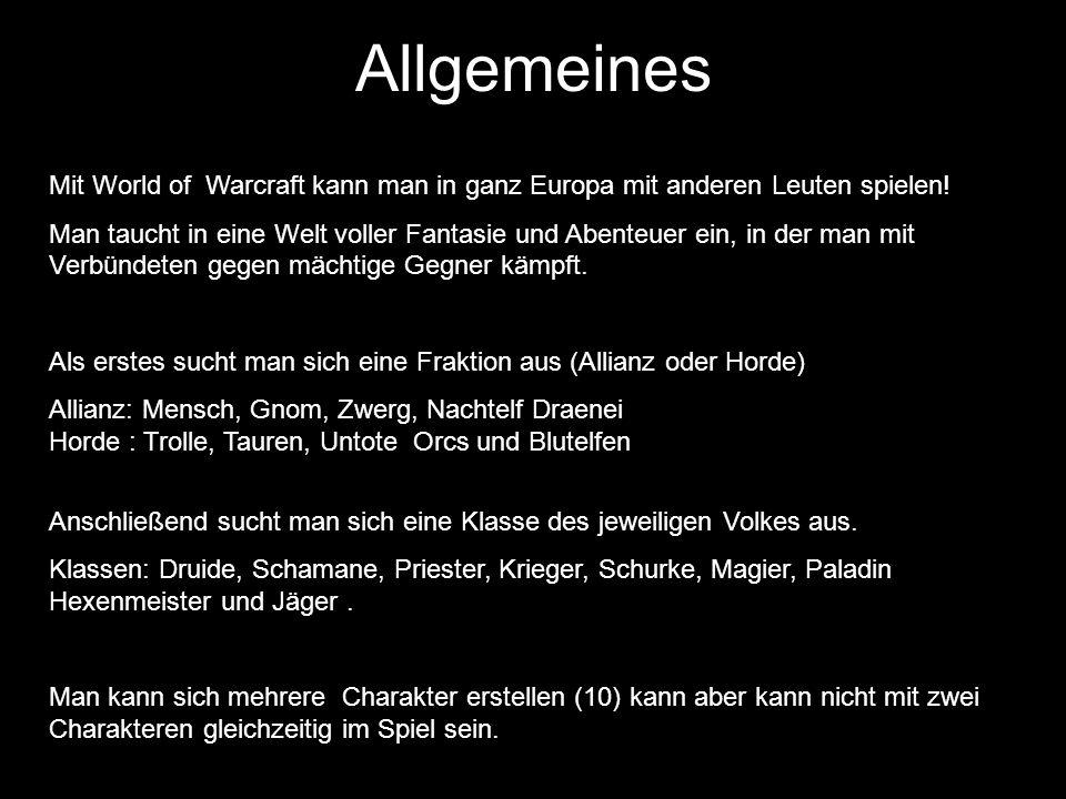 Allgemeines Mit World of Warcraft kann man in ganz Europa mit anderen Leuten spielen.