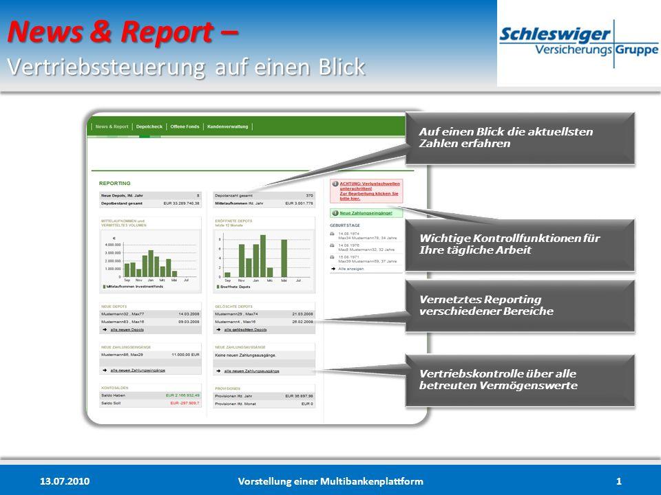 News & Report – Vertriebssteuerung auf einen Blick 13.07.2010Vorstellung einer Multibankenplattform1 Auf einen Blick die aktuellsten Zahlen erfahren W