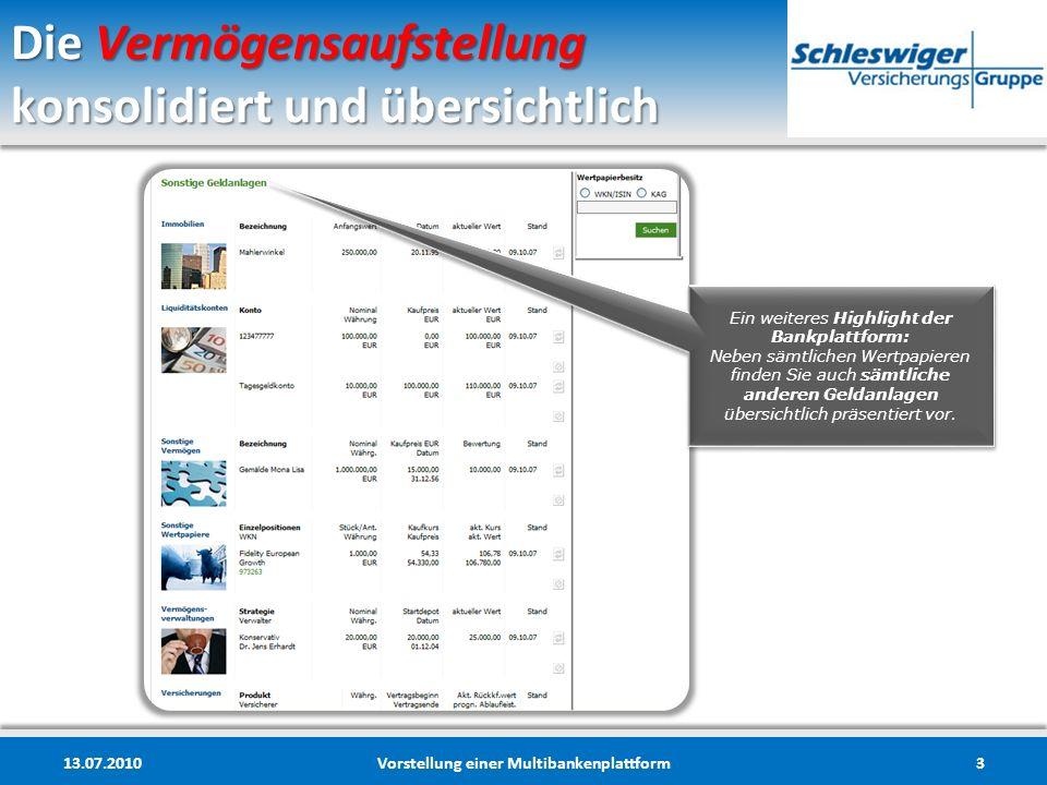 Die Vermögensaufstellung konsolidiert und übersichtlich 13.07.2010Vorstellung einer Multibankenplattform3 Ein weiteres Highlight der Bankplattform: Ne