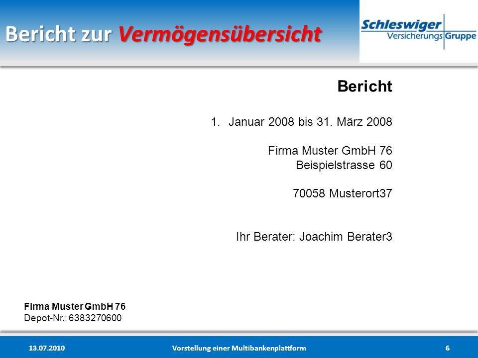 Bericht zur Vermögensübersicht 13.07.2010Vorstellung einer Multibankenplattform6 Bericht 1.Januar 2008 bis 31. März 2008 Firma Muster GmbH 76 Beispiel
