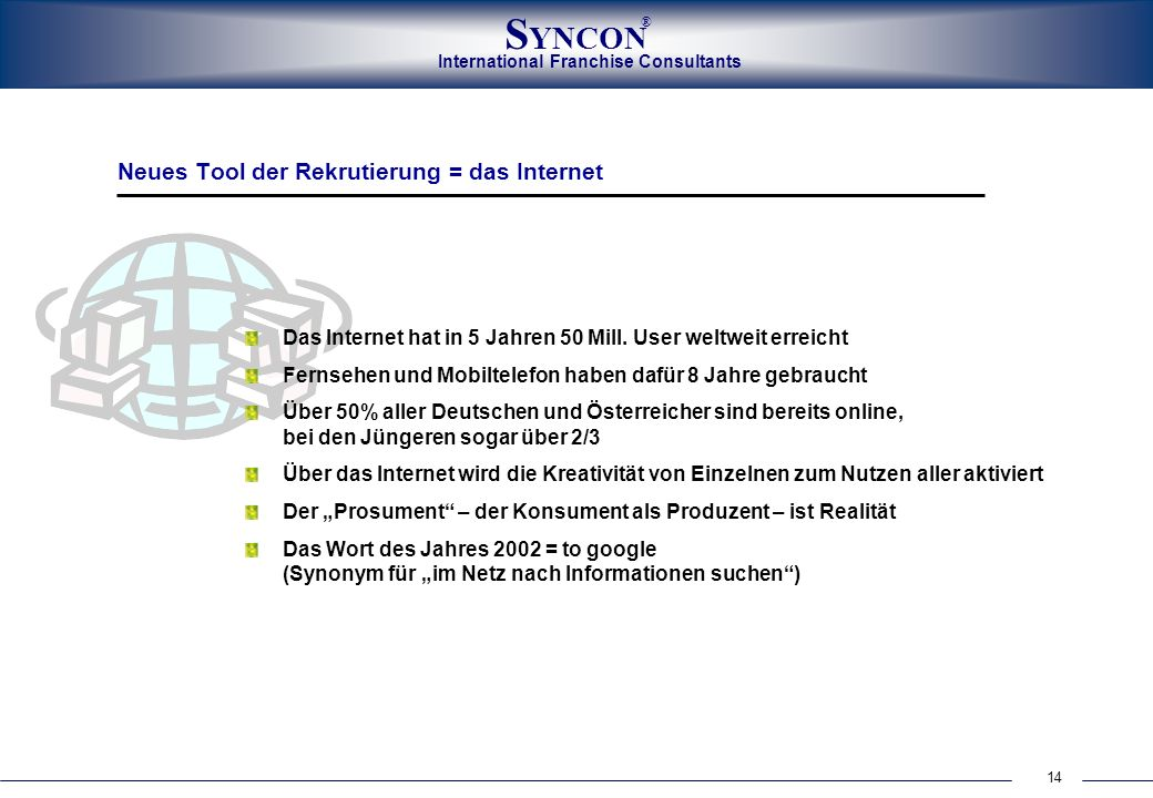 International Franchise Consultants S YNCON ® 14 Neues Tool der Rekrutierung = das Internet Das Internet hat in 5 Jahren 50 Mill.
