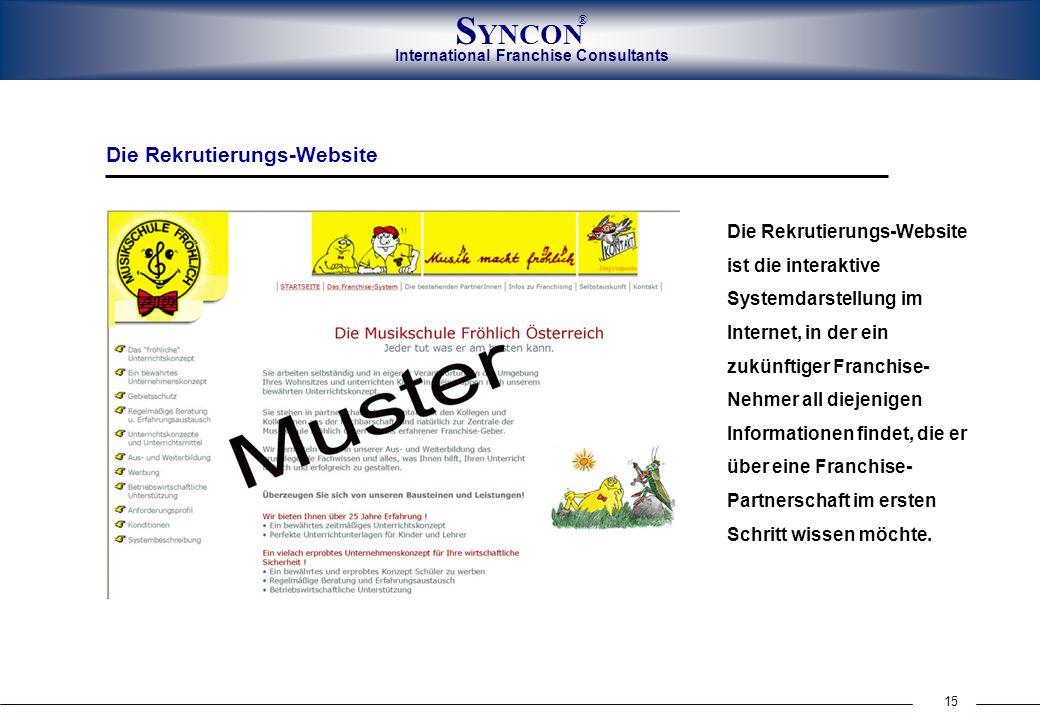 International Franchise Consultants S YNCON ® 15 Die Rekrutierungs-Website Die Rekrutierungs-Website ist die interaktive Systemdarstellung im Internet