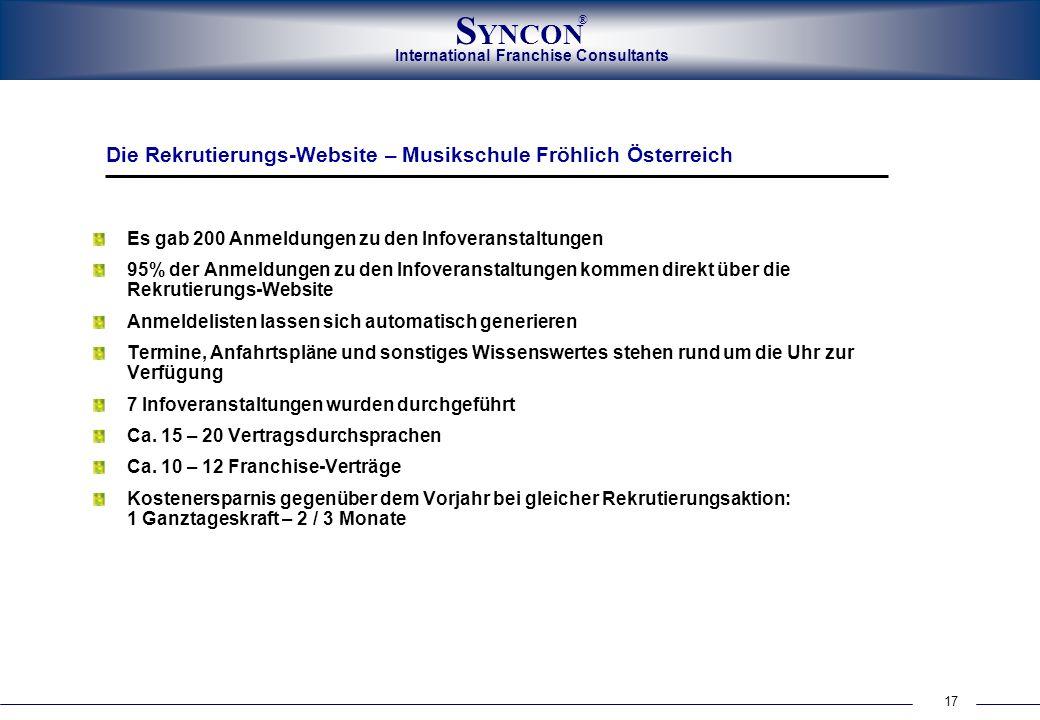 International Franchise Consultants S YNCON ® 17 Es gab 200 Anmeldungen zu den Infoveranstaltungen 95% der Anmeldungen zu den Infoveranstaltungen komm