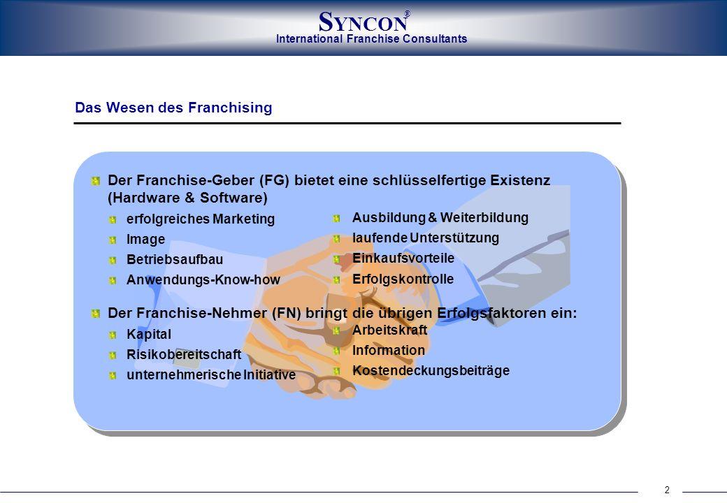 International Franchise Consultants S YNCON ® 13 * (Vertrag und Handbuch) Perfekte Systemzentrale Franchising ist ernst und seriös zu betreiben Bereitschaft zur Investition in die Entwicklung des Systems Pilotierung ist wesentliche Voraussetzung für den Erfolg.