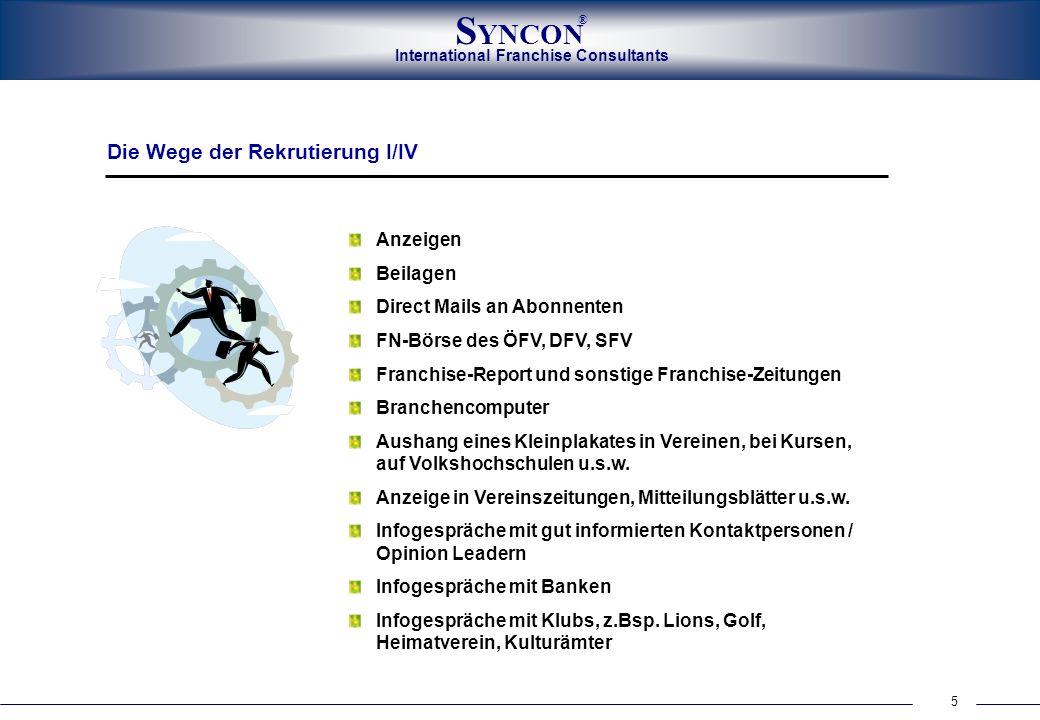 International Franchise Consultants S YNCON ® 5 Anzeigen Beilagen Direct Mails an Abonnenten FN-Börse des ÖFV, DFV, SFV Franchise-Report und sonstige