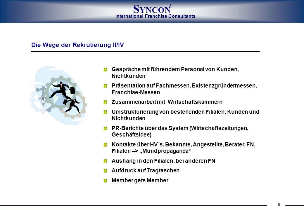 International Franchise Consultants S YNCON ® 6 Gespräche mit führendem Personal von Kunden, Nichtkunden Präsentation auf Fachmessen, Existenzgründerm
