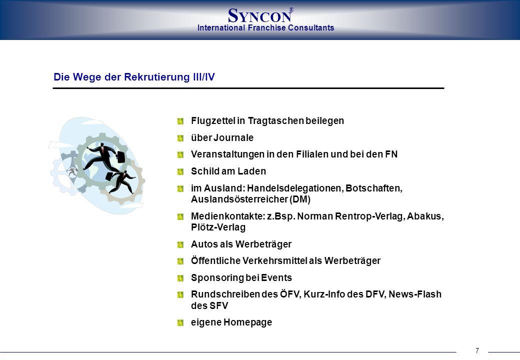 International Franchise Consultants S YNCON ® 8 E-Mail- Aussendungen E-Mail-Kontakte zur Rekrutierung: nettpress@aol.com, oefv@franchise.at,nettpress@aol.com oefv@franchise.at mailto:marketing@franchisefactory.de Websites zur Rekrutierung: www.franchise-net.de, www.franchising-network.de, www.franchising.at, www.franchisefactory.de, www.franchise-portal.dewww.franchise-net.de www.franchising-network.dewww.franchising.at www.franchisefactory.dewww.franchise-portal.de Intranet für die Mitglieder der Franchise-Verbände, Österreich, Deutschland, Schweiz Die Wege der Rekrutierung IV/IV