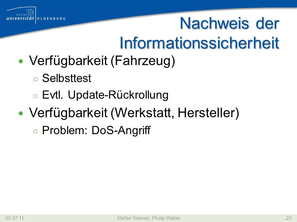 Nachweis der Informationssicherheit Verfügbarkeit (Fahrzeug) Selbsttest Evtl. Update-Rückrollung Verfügbarkeit (Werkstatt, Hersteller) Problem: DoS-An
