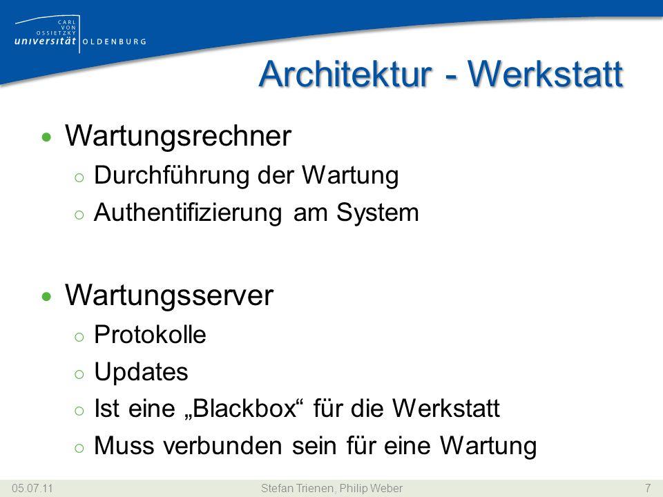 Architektur - Hersteller Update-Server Fahrzeugsoftware Authentifizierung Hersteller mit Fahrzeug Hersteller mit Werkstatt Nötig, um Update durchzuführen 05.07.11Stefan Trienen, Philip Weber8