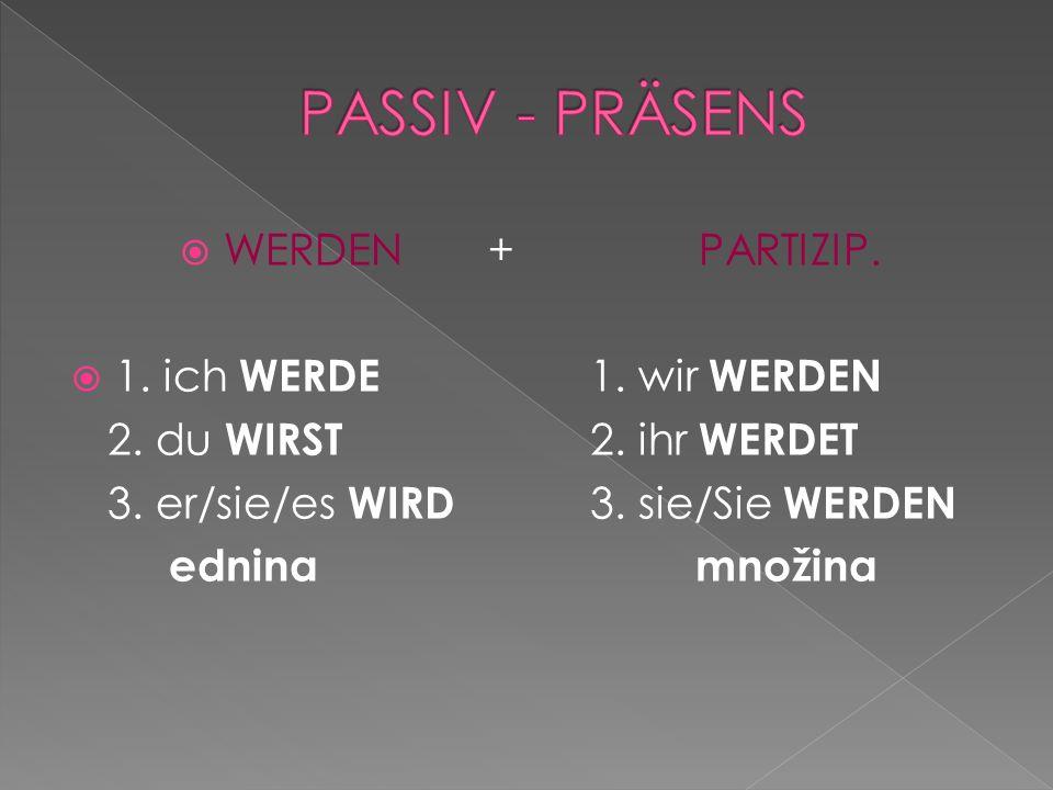 WERDEN+PARTIZIP.1. ich WERDE 1. wir WERDEN 2. du WIRST 2.