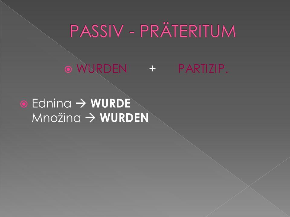 WURDEN +PARTIZIP. Ednina WURDE Množina WURDEN