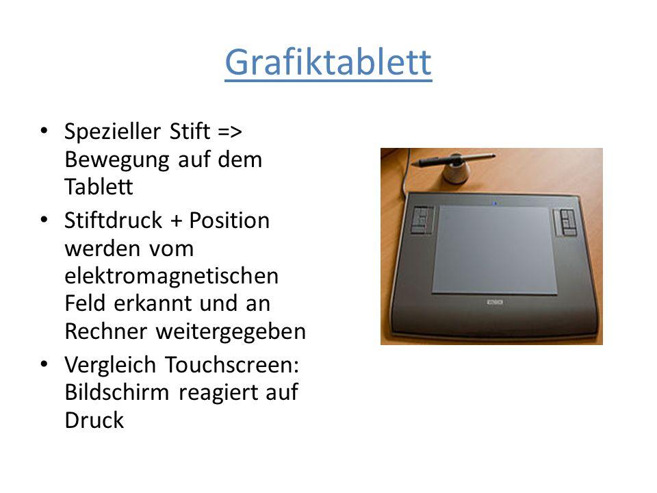 Grafiktablett Spezieller Stift => Bewegung auf dem Tablett Stiftdruck + Position werden vom elektromagnetischen Feld erkannt und an Rechner weitergege