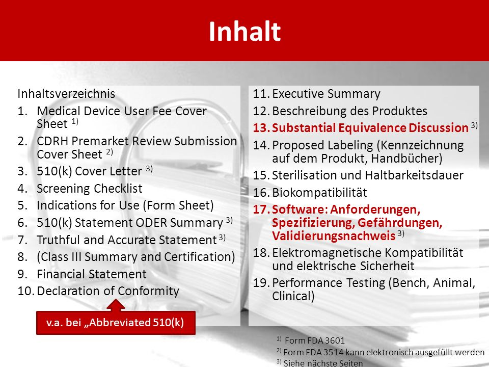 Inhalt Inhaltsverzeichnis 1.Medical Device User Fee Cover Sheet 1) 2.CDRH Premarket Review Submission Cover Sheet 2) 3.510(k) Cover Letter 3) 4.Screen