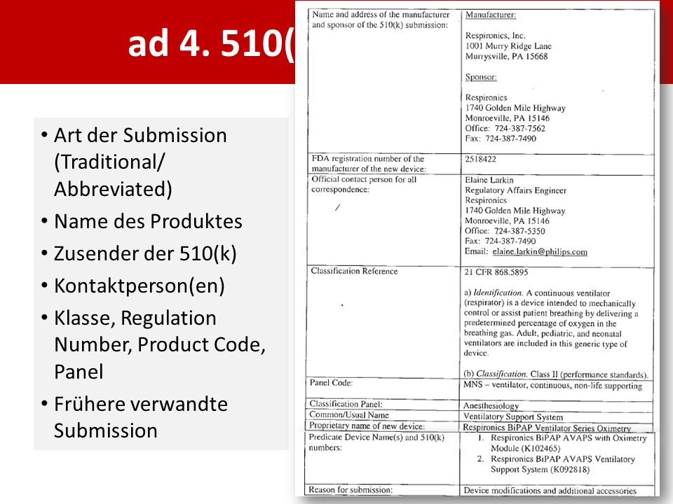 ad 4. 510(k) Cover Letter Art der Submission (Traditional/ Abbreviated) Name des Produktes Zusender der 510(k) Kontaktperson(en) Klasse, Regulation Nu