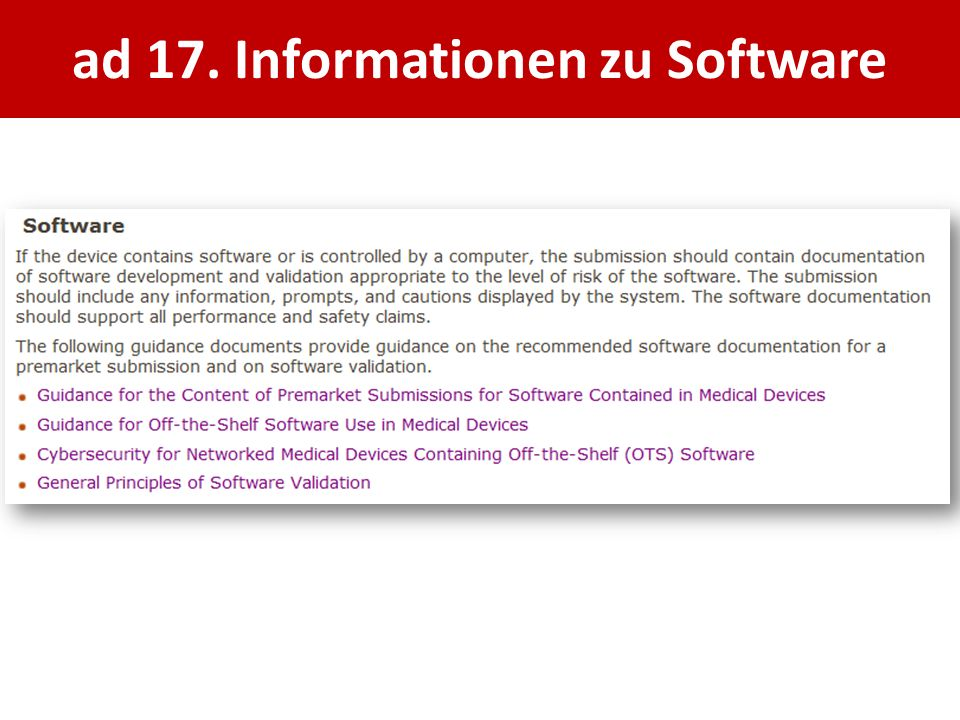 ad 17. Informationen zu Software