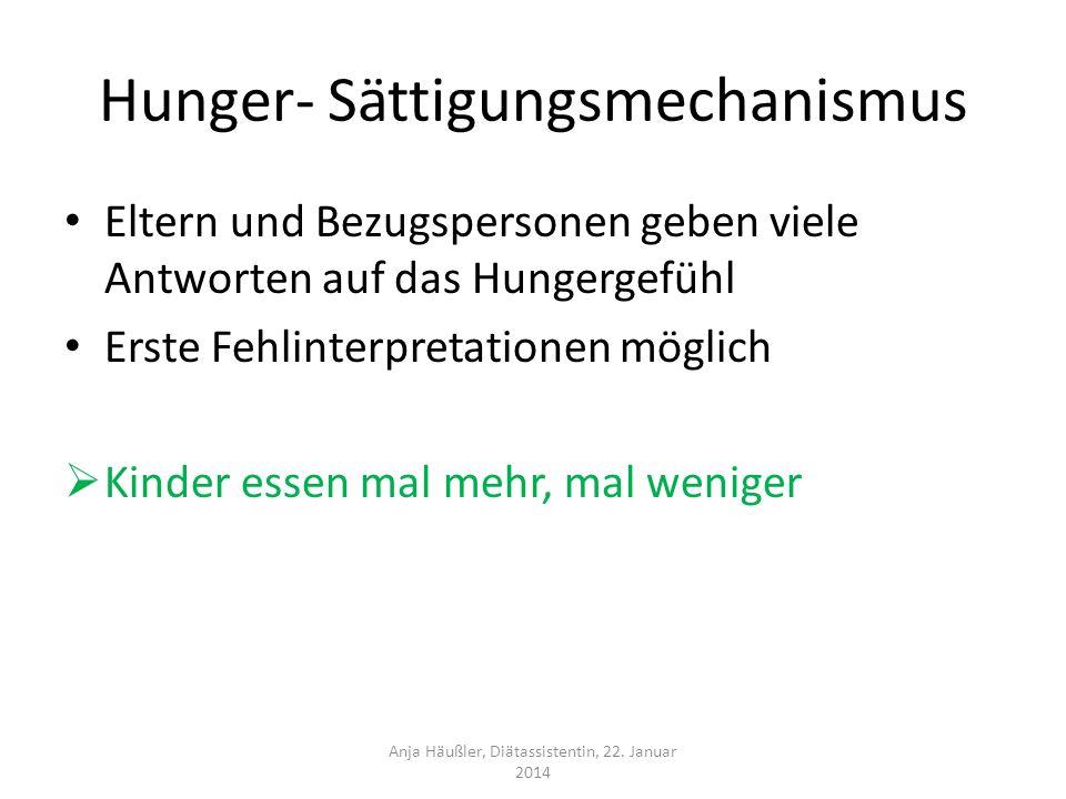 Hunger- Sättigungsmechanismus Eltern und Bezugspersonen geben viele Antworten auf das Hungergefühl Erste Fehlinterpretationen möglich Kinder essen mal