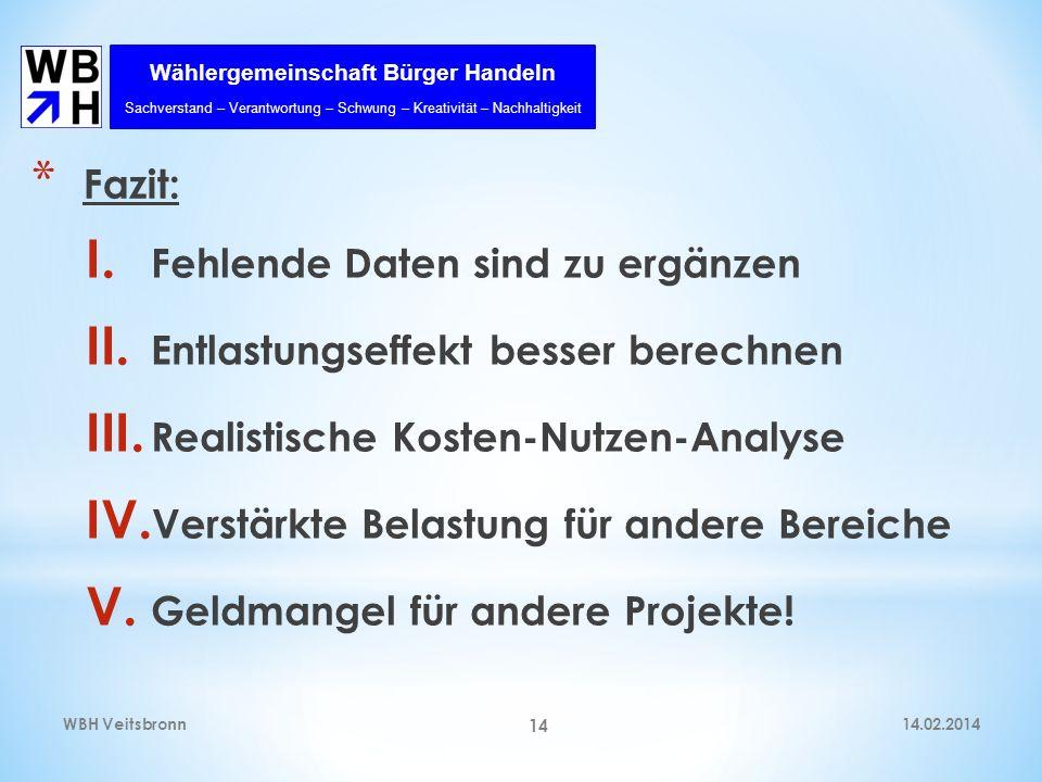 Wählergemeinschaft Bürger Handeln Sachverstand – Verantwortung – Schwung – Kreativität – Nachhaltigkeit 14.02.2014WBH Veitsbronn 14 * Fazit: I.