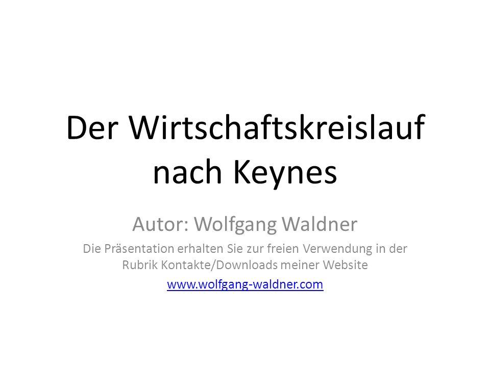 Der Wirtschaftskreislauf nach Keynes Autor: Wolfgang Waldner Die Präsentation erhalten Sie zur freien Verwendung in der Rubrik Kontakte/Downloads mein