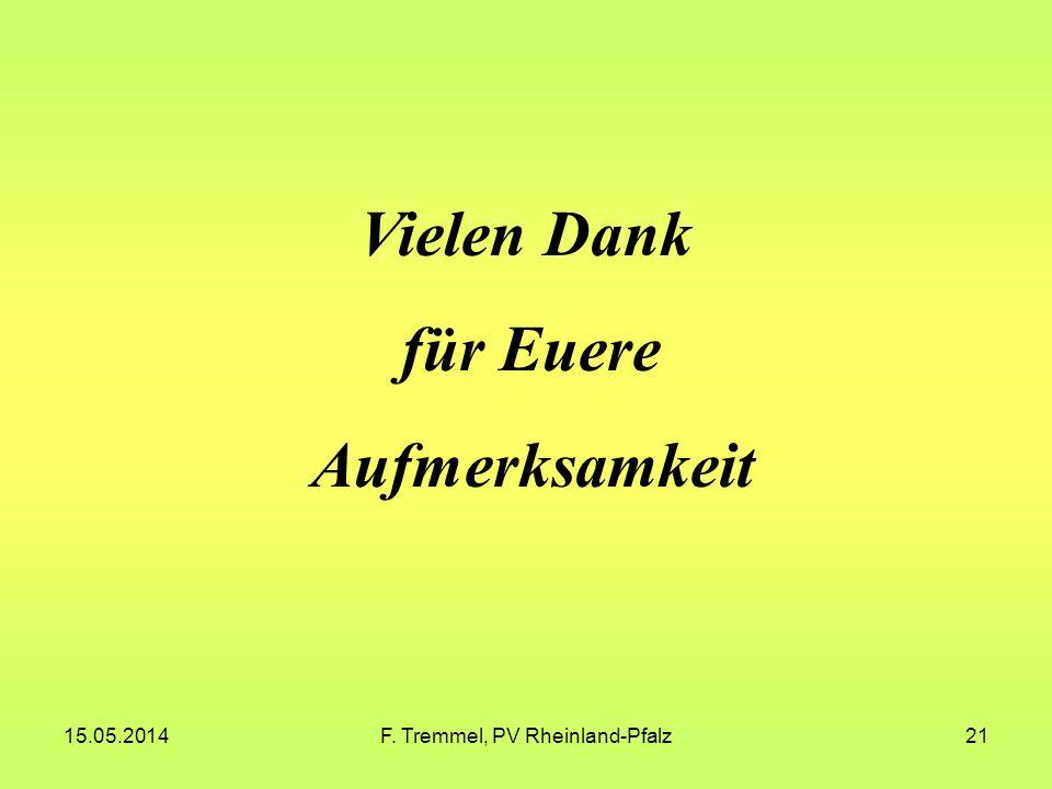 15.05.2014F. Tremmel, PV Rheinland-Pfalz21 Vielen Dank für Euere Aufmerksamkeit