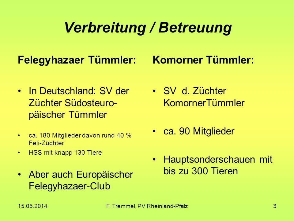15.05.2014F. Tremmel, PV Rheinland-Pfalz3 Verbreitung / Betreuung Felegyhazaer Tümmler: In Deutschland: SV der Züchter Südosteuro- päischer Tümmler ca