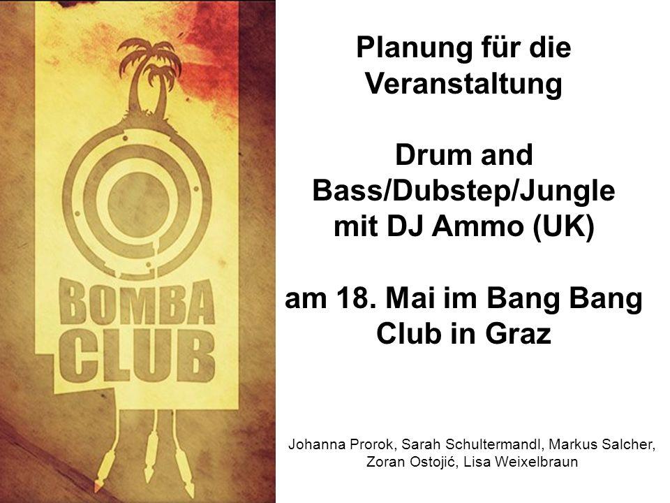 Planung für die Veranstaltung Drum and Bass/Dubstep/Jungle mit DJ Ammo (UK) am 18.
