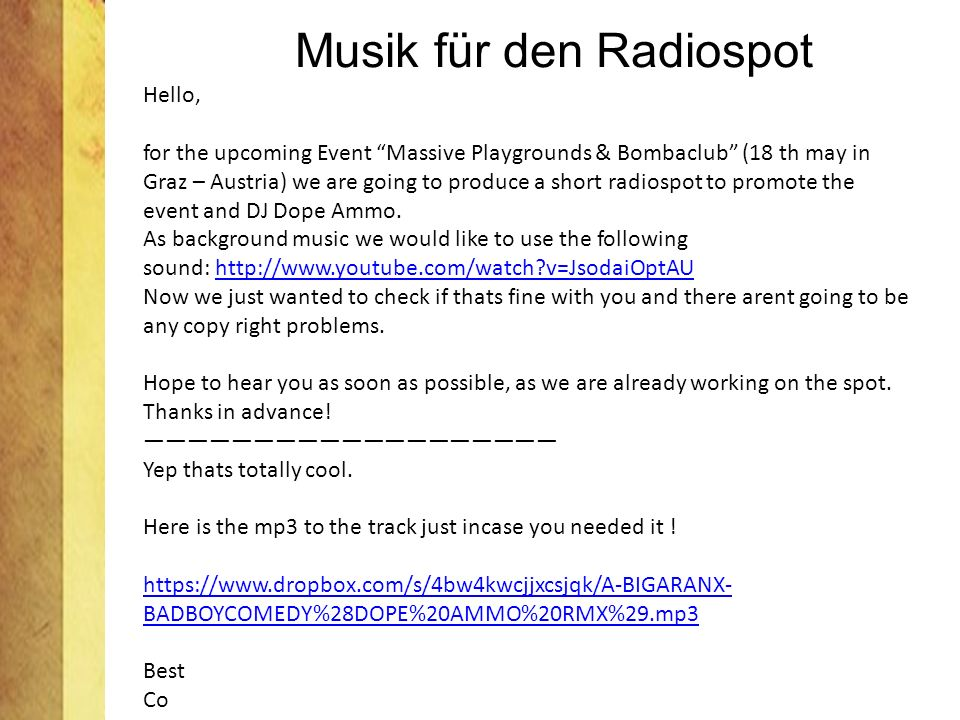 Musik für den Radiospot Hello, for the upcoming Event Massive Playgrounds & Bombaclub (18 th may in Graz – Austria) we are going to produce a short ra