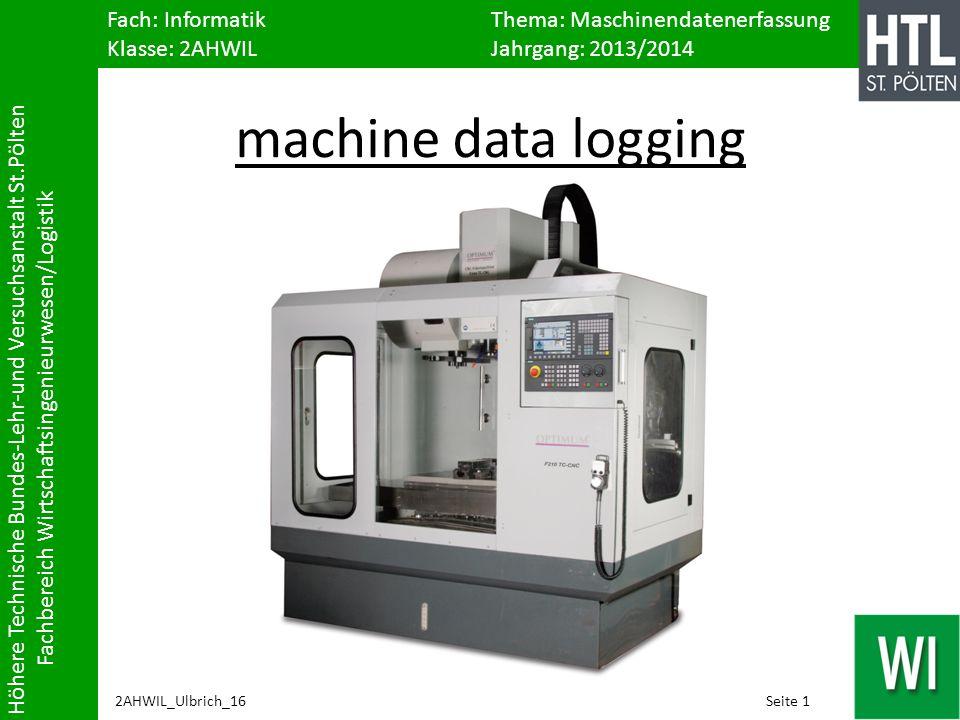Fach: Informatik Thema: Maschinendatenerfassung Klasse: 2AHWILJahrgang: 2013/2014 Höhere Technische Bundes-Lehr-und Versuchsanstalt St.Pölten Fachbere