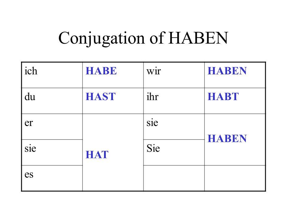 Conjugation of HABEN ichHABEwirHABEN duHASTihrHABT er HAT sie HABEN sieSie es