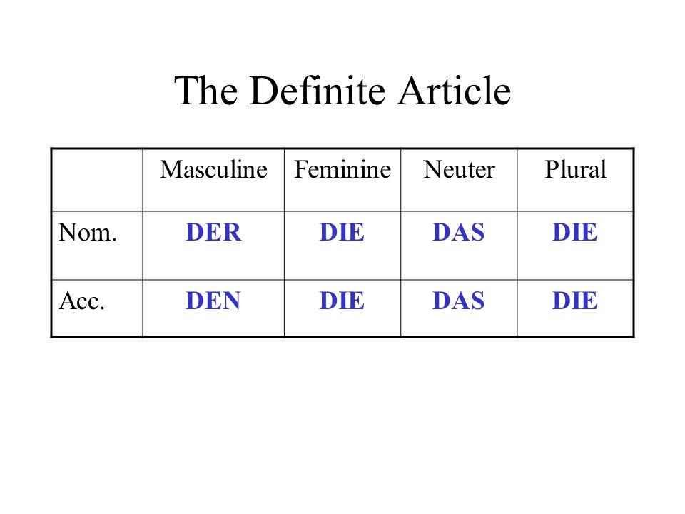 The Definite Article MasculineFeminineNeuterPlural Nom.DERDIEDASDIE Acc.DENDIEDASDIE