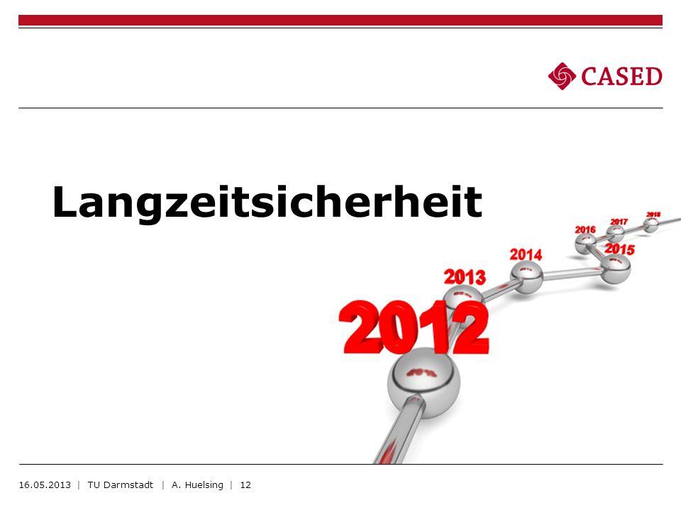 Langzeitsicherheit 16.05.2013 | TU Darmstadt | A. Huelsing | 12