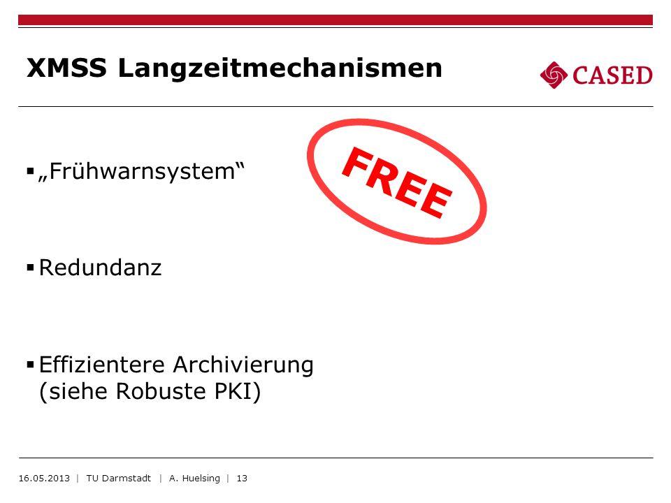 XMSS Langzeitmechanismen Frühwarnsystem Redundanz Effizientere Archivierung (siehe Robuste PKI) 16.05.2013 | TU Darmstadt | A. Huelsing | 13 FREE