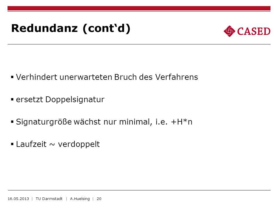 Redundanz (contd) Verhindert unerwarteten Bruch des Verfahrens ersetzt Doppelsignatur Signaturgröße wächst nur minimal, i.e. +H*n Laufzeit ~ verdoppel