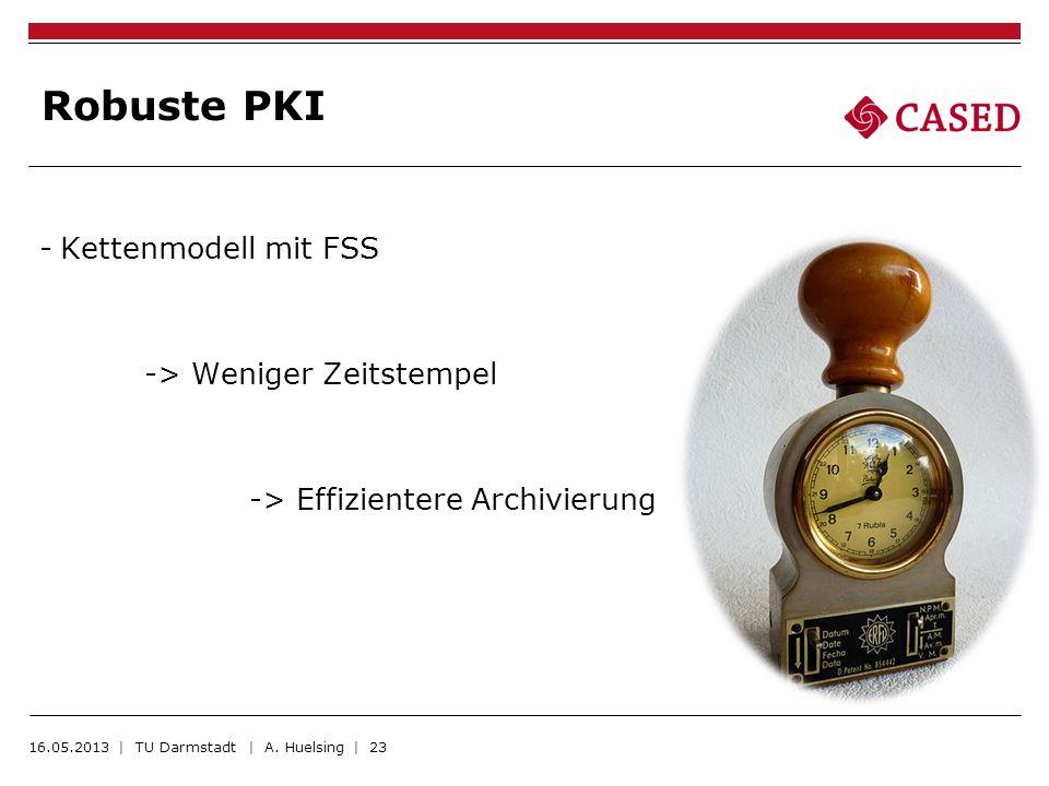 Robuste PKI -Kettenmodell mit FSS -> Weniger Zeitstempel -> Effizientere Archivierung 16.05.2013 | TU Darmstadt | A. Huelsing | 23